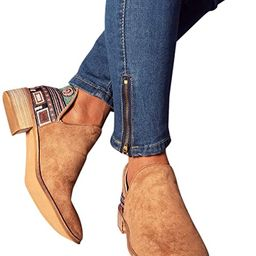 Women Embroidered Ankle Boots Round Toe Stacked Heels Side Slit Flats Booties   Amazon (US)