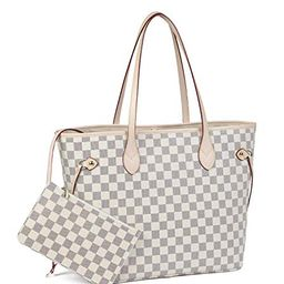Daisy Rose - Daisy Rose Checkered Tote Shoulder Bag with inner pouch - PU Vegan Leather (Cream) -...   Walmart (US)