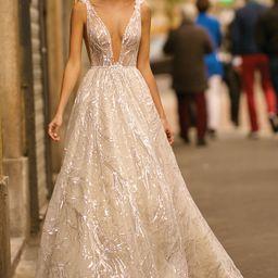 Women's Berta Embellished Plunge Ballgown Wedding Dress, Size - Ivory | Nordstrom