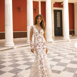 Women's Berta Long Sleeve Lace Mermaid Wedding Dress | Nordstrom