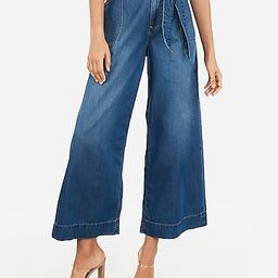High Waisted Belted Cropped Wide Leg Jeans | Express