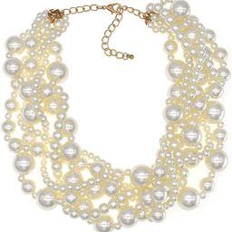 CIOOU Womens Imitation Pearl Twisty Chunky Bib Necklace Chokers for Wedding Party | Amazon (US)