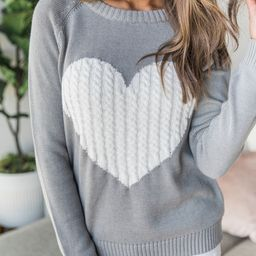 Dearest Hearts Grey Sweater | The Pink Lily Boutique