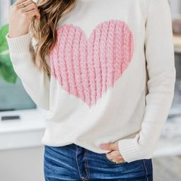 Dearest Hearts Pink Sweater | The Pink Lily Boutique