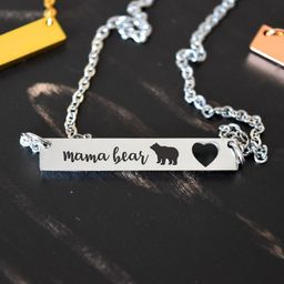 Mama Bear Necklace - MOTHER'S DAY Gift, Mom Necklace Horizontal, Mothers Day Jewelry,Mom Gift, Ne... | Etsy (US)