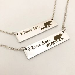 Mama Bear Necklace, Stainless Steel Necklace, Silver Bar Necklace, Dainty Necklace, Bridesmaid gi... | Etsy (US)