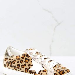 Getting Better Gold Leopard Print Sneakers   Red Dress