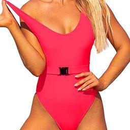 One Piece Swimsuits for Women Belt Thong Swimwear High Cut Bathing Suit Scoop Neck Monokini   Amazon (US)