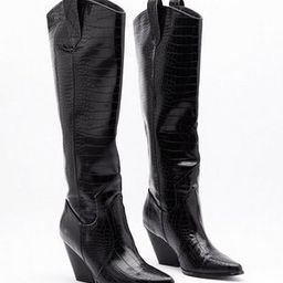The Wild Western Faux Leather Croc Boots | NastyGal (US & CA)
