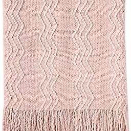 """Amazon.com: Bourina Textured Solid Soft Sofa Throw Couch Cover Knitted Decorative Blanket, 50"""" x ... 