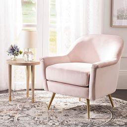 Safavieh Home Brienne Blush Pink and Brass Mid-Century Arm Chair, | Amazon (US)
