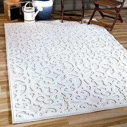"Orian Sculpted 4704 Indoor/Outdoor High-Low Debonair Natural Area Rug, 7'9"" x 10'10"", Ivory | Amazon (US)"