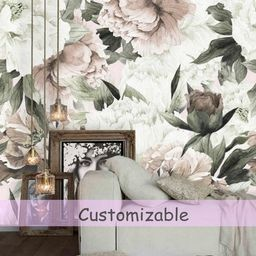Peel and Stick Wallpaper Floral Large Floral Wallpaper, Peonies Wallpaper Mural, Floral Wall Mura... | Etsy (US)