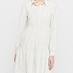 Spotted Tiered Shirt Dress   Express