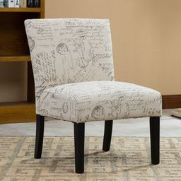 Botticelli English Letter Print Fabric Armless Accent Chair | Overstock