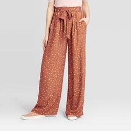 Women's Polka Dot Mid-Rise Belted Wide Leg Soft Pants - Xhilaration™ Brown   Target