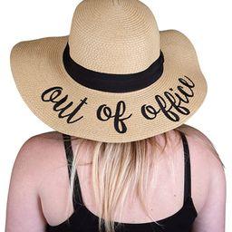 Women's Bold Cursive Embroidered Adjustable Beach Floppy Sun Hat | Amazon (US)