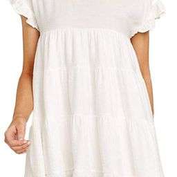 Joteisy Women's O Neck Ruffle Short Sleeve Tiered Casual Mini Dress   Amazon (US)