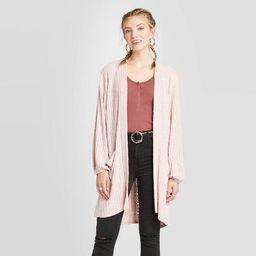 Women's Long Sleeve Lace Trim Knit Cardigan - Xhilaration™ Blush   Target