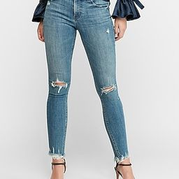 High Waisted Hyper Stretch Ripped Raw Hem Jean Ankle Leggings   Express