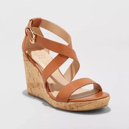 Women's Cecilia Faux Leather Cork Bottom Strappy Wedge Pumps - A New Day™ | Target