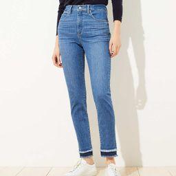 Curvy Double Frayed Skinny Jeans | LOFT | LOFT
