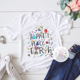 The Happiest Place on Earth Doodle Tee Unisex T-Shirt   Etsy (US)