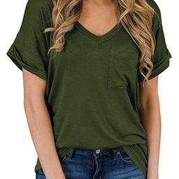 MIHOLL Women's Short Sleeve V-Neck Shirts Loose Casual Tee T-Shirt   Amazon (US)