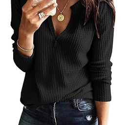 Womens V Neck Shirts Long Sleeve Waffle Knit Loose Fitting Warm Tee Tops Pullover Sweaters | Amazon (US)