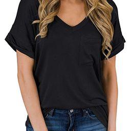 MIHOLL Women's Short Sleeve V-Neck Shirts Loose Casual Tee T-Shirt | Amazon (US)