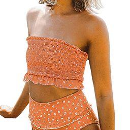 ZESICA Women's Summer Floral Printed High Waist Ruched Smocked Beach Bikini Sets Swimsuit Bathing... | Amazon (US)