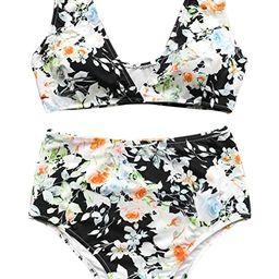 CUPSHE Women's High Waisted Push Up Bikini Set Mist and Noct Print Swimwear | Amazon (US)