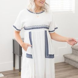 Santorini Embroidered Dress in White | My Sister's Closet Boutique