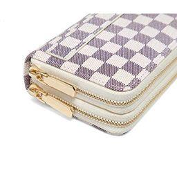 Daisy Rose Dual Zip Wallet-RFID Checkered Hand Strap Clutch- PU Vegan Leather   Walmart (US)