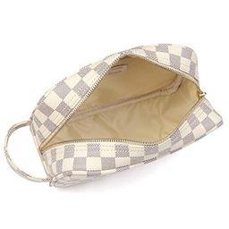 Daisy Rose Luxury Checkered Make Up Bag   PU Vegan Leather Cosmetic toiletry Travel bag (Cream)   Walmart (US)