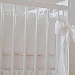 White Crib  bedding, linen crib bedding -  2 pcs- gathered skirt, 4 side bumper - Nursery bedding | Etsy (US)