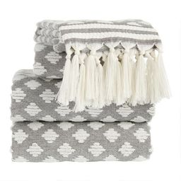 Black and White Sculpted Diamond Tassel Brea Towels | World Market