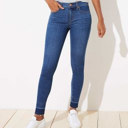 Let Down Hem Slim Pocket Skinny Jeans in Rich Dark Indigo   LOFT   LOFT