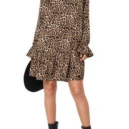 Long Sleeve Leopard Print Flounce Minidress   Nordstrom