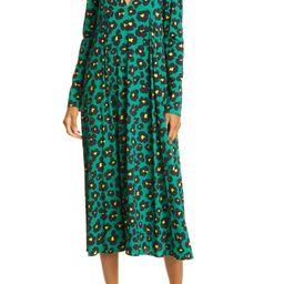 Trapezio Leopard Floral Long Sleeve Midi Dress   Nordstrom