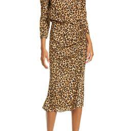 Arielle Leopard Print Stretch Silk Midi Dress   Nordstrom