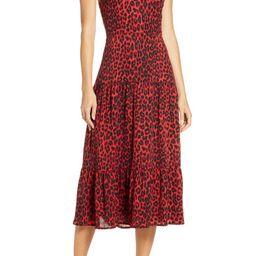 Red Leopard Halter Midi Dress   Nordstrom