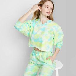 Women's Tie-Dye Split Neck Cropped Sweatshirt - Wild Fable™ Green   Target