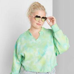 Women's Plus Size Tie-Dye Split Neck Cropped Sweatshirt - Wild Fable™ Green   Target
