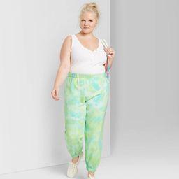 Women's Plus Size High-Rise Tie-Dye Sweatpants - Wild Fable™ Green   Target