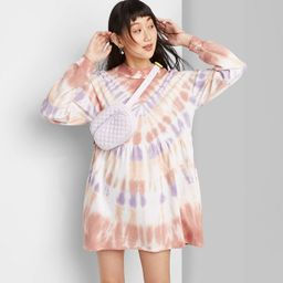Women's Tie-Dye Long Sleeve Mock Turtleneck Knit Dress - Wild Fable™ Peach/Navy/Brown   Target