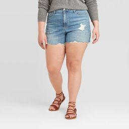 Women's Plus Size High-Rise Distressed Jean Shorts - Universal Thread™ Medium Wash   Target