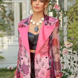 Satin Peak Collar Double Breasted Floral Organza Blazer   SHEIN