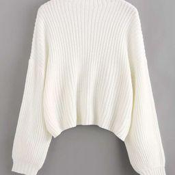 Drop Shoulder Balloon Sleeve Sweater   SHEIN