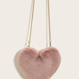 Fluffy Heart Shaped Chain Crossbody Bag   SHEIN